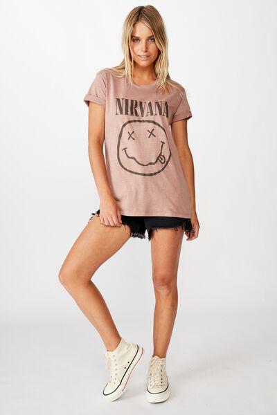 Classic Nirvana T Shirt, LCN LN NIRVANA SMILEY/BULRWOOD