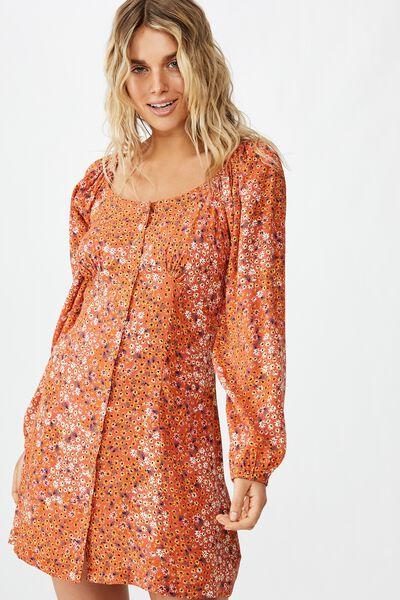 Woven Natasha Square Neck Long Sleeve Mini Dress, MANDY MULTI DITSY AUTUMN GLAZE