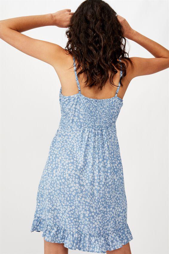 Woven Kiara Tie Front Mini Dress, FRANKIE DAISY PROVINCIAL BLUE