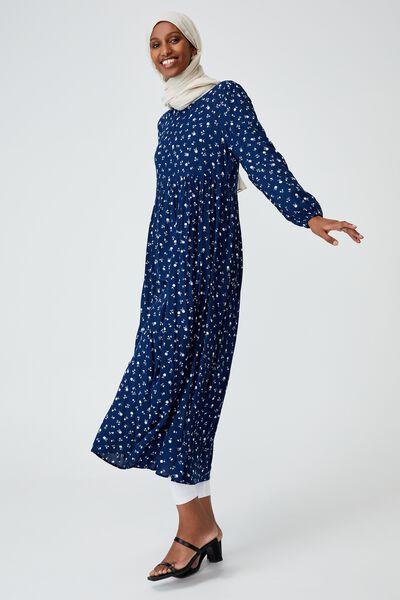 Woven Kimberly Babydoll Long Sleeve Maxi Dress, DELILA DITSY MEDIEVAL BLUE