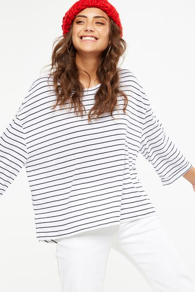 Jacklyn Oversized Long Sleeve Top, CLEO STRIPE WHITE/DEEPEST NAVY