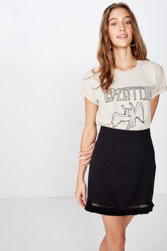 Woven Geri Tassel Mini Skirt, BLACK