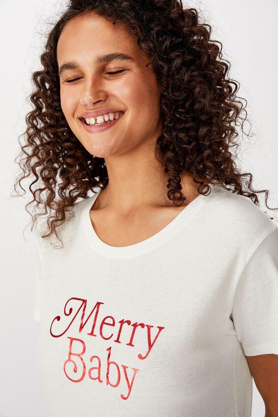 Classic Christmas T Shirt, MERRY BABY/GARDENIA