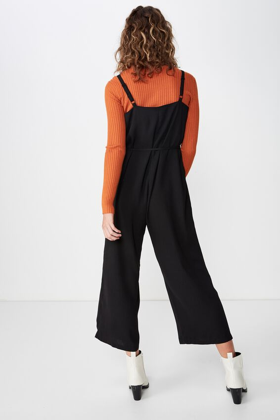 Woven Jolene Strappy Jumpsuit, BLACK