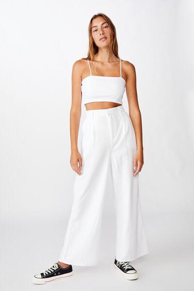 Pleat Front Drapey Pant, WHITE
