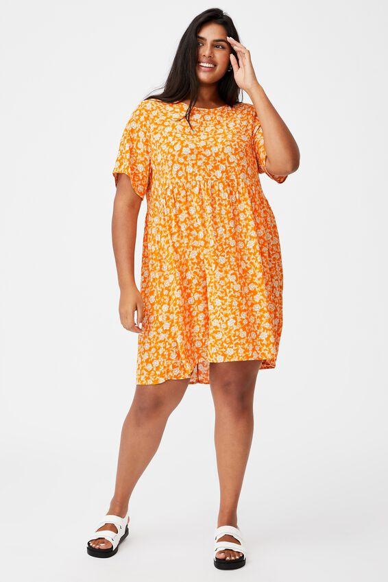 Curve Good Times Babydoll Mini Dress, SHARI FOLK FLORAL SUMMER TANGERINE