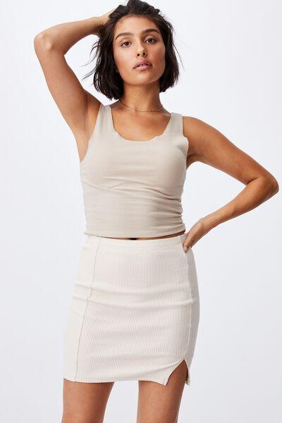 Streamline Ribbed Mini Skirt, STONE