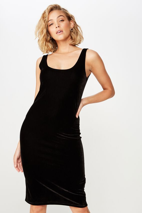 Kylie Scooped Bodycon Dress, BLACK VELVET