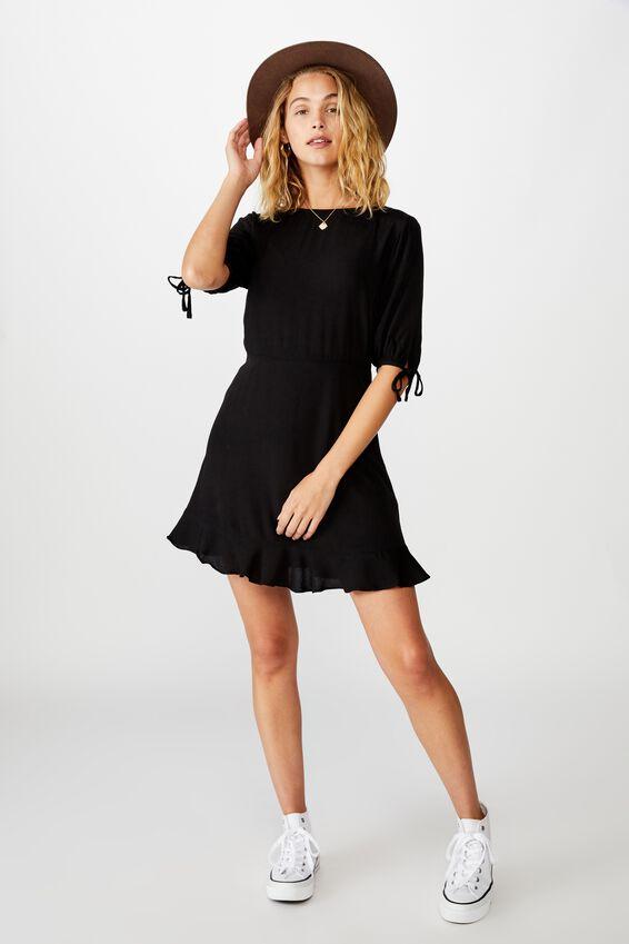 Woven Lucie 3/4 Mini Dress, BLACK