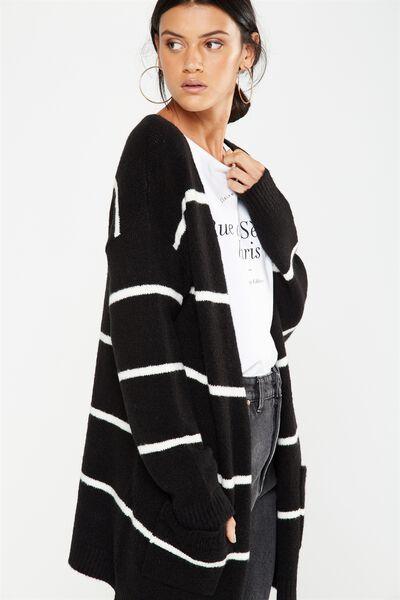 Ashy Mid Length Cardigan, BLACK & WHITE STRIPE