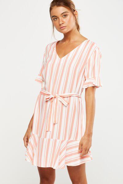 Woven Matina 3/4 Sleeve Dress, CHLOE STRIPE EMBERGLOW