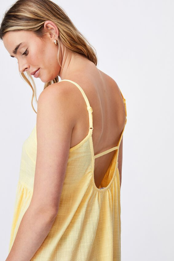 Woven Lucy Strappy Tiered Tunic, LEMON