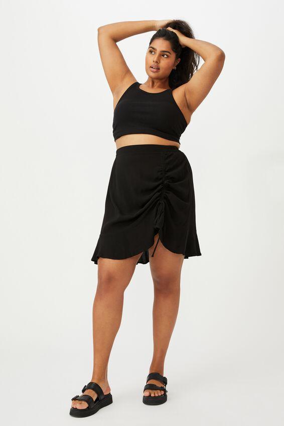 Curve Kiki Rouched Mini Skirt, BLACK