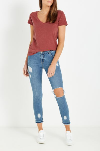 Mid Rise Grazer Skinny Jean, VINTAGE BLUE CHEWED HEM