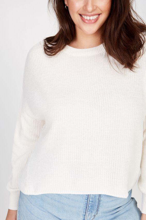 Curve Crop Pullover, GARDENIA