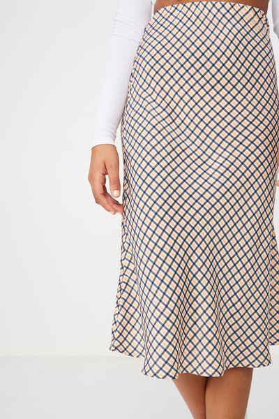 Woven Belle Bias Midi Skirt, JOSIE CHECK APRICOT ILLUSION