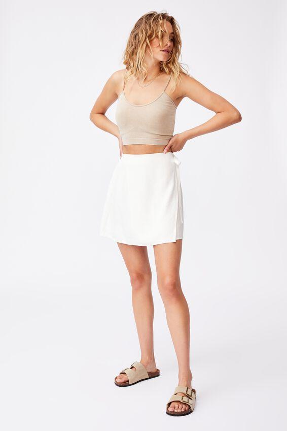Drew Wrap Mini Skirt, WHITE