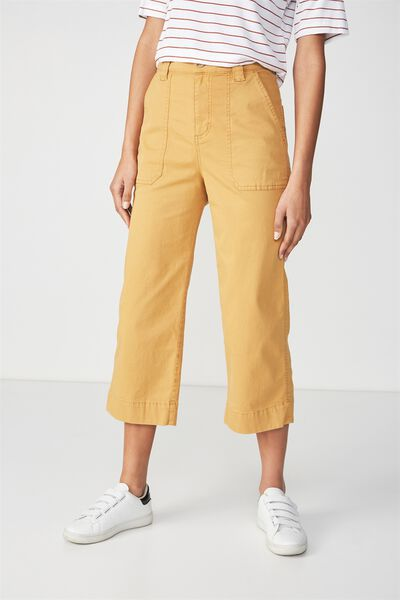 Wide Leg Chop Pant 2, SPRUCE YELLOW