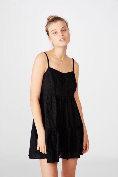 Woven Betty Tiered Mini Dress, BLACK