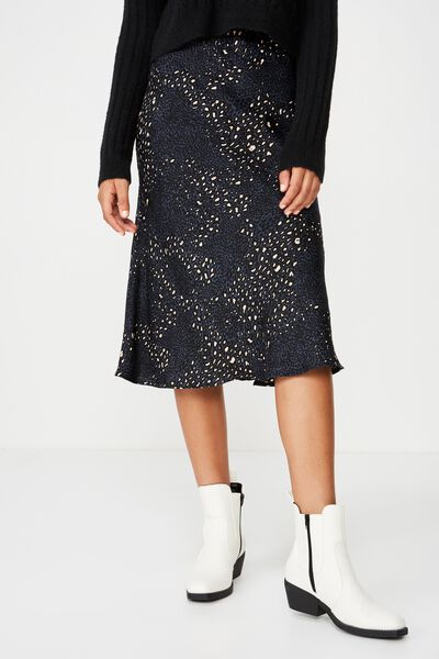 Woven Belle Bias Midi Skirt, NORA ANIMAL MOOD INDIGO