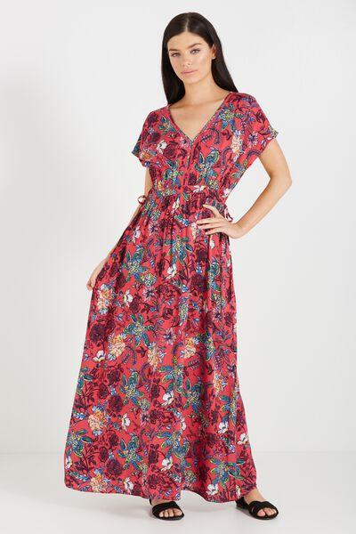 Woven Mira Kimono Maxi Dress, JADED FLORAL TEABERRY
