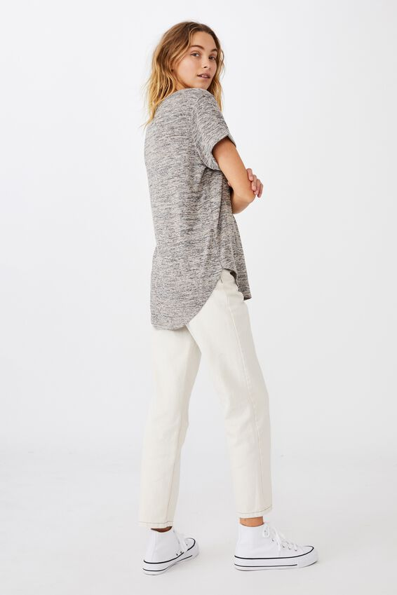 Karly Short Sleeve V Neck Top, LATTE TWIST