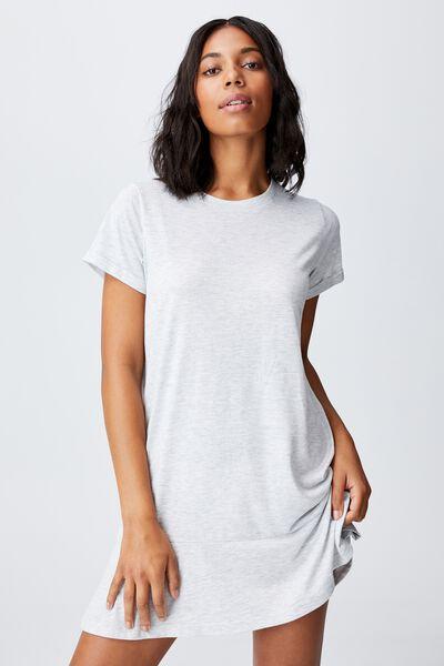 Tiana Oversized Fluted Hem Dress, LIGHT GREY MARLE