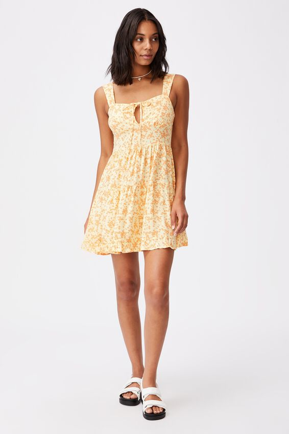 Woven Sandy Skater Dress, LENA DITSY LEMON