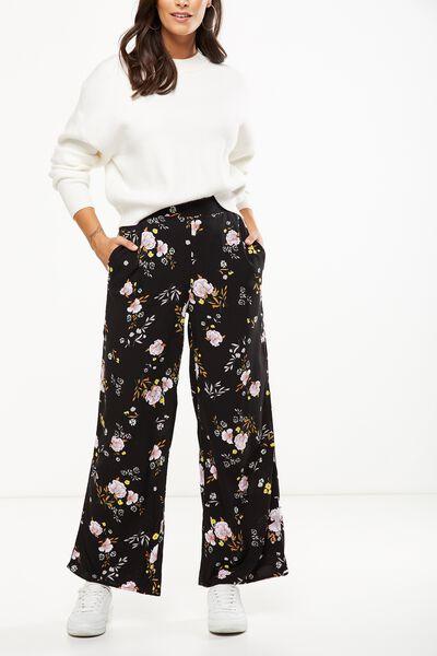 Wide Leg Pant, SHARON FLORAL BLACK