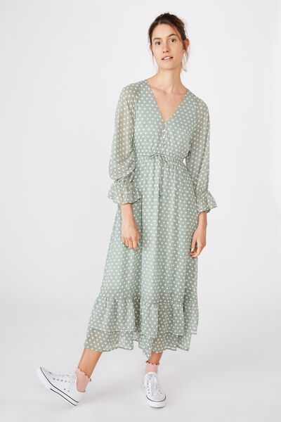 Woven Wendy Maxi Dress, SALLY SPOT ICEBURG GREEN