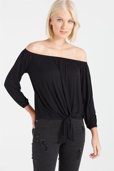 Avery Off The Shoulder Top, BLACK