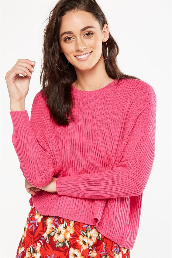 Archy Cropped Pullover, PINK YARROW