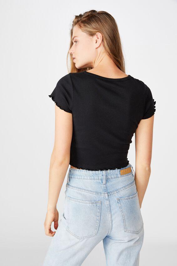 Turnback Short Sleeve Top, BLACK