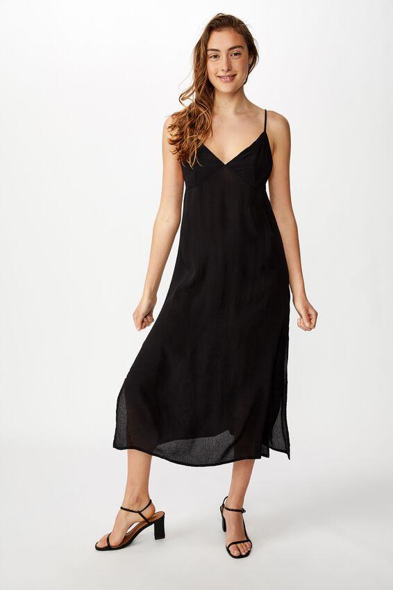Woven Veronica V Midi Slip Dress, BLACK