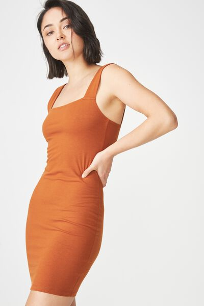Peyton Square Neck Bodycon Mini Dress, UMBER BROWN