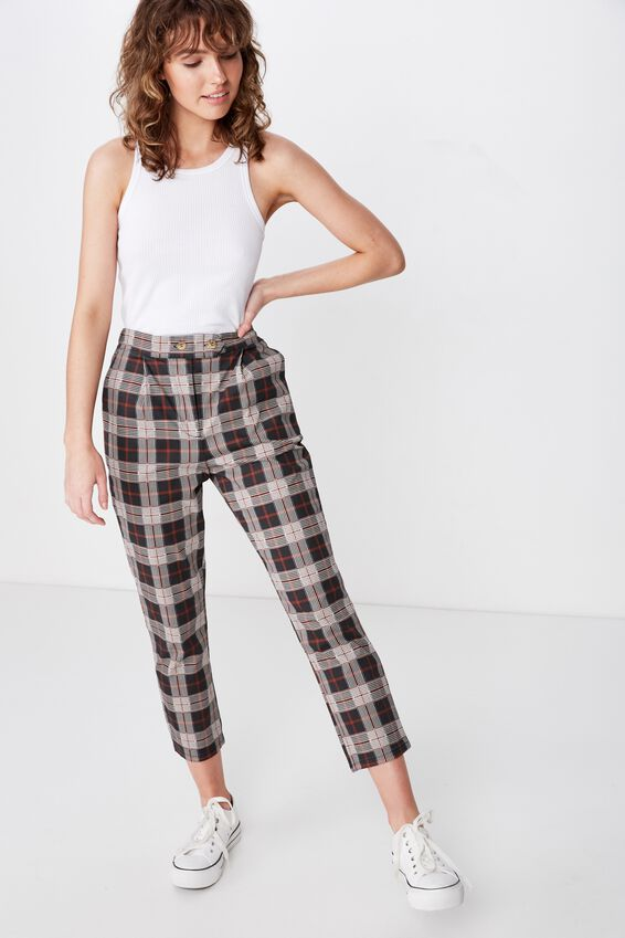 Ava Tapered Pant, PHOEBE CHECK CHARCOAL