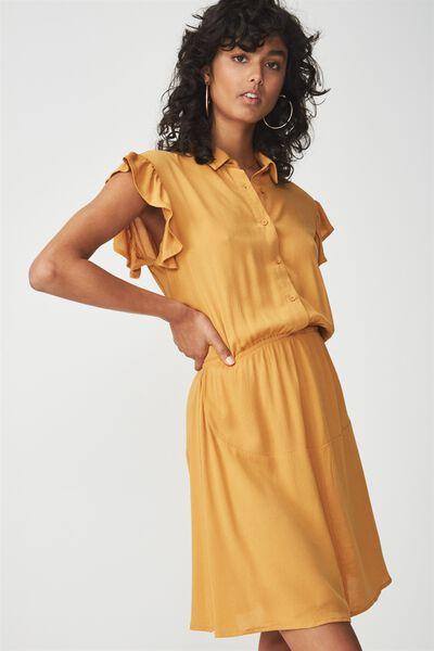 Woven Bertie Button Up Tea Dress, SPRUCE YELLOW