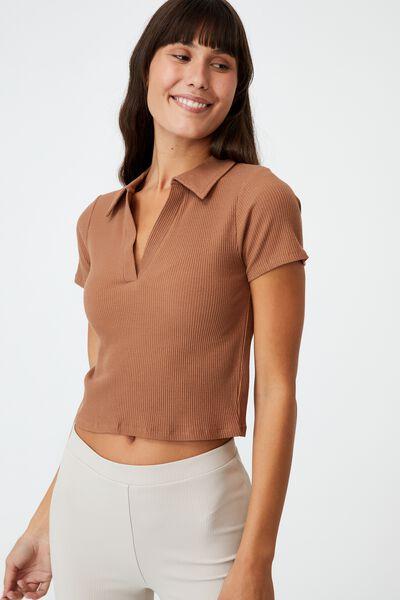Zoe Short Sleeve Polo, COCOA BROWN