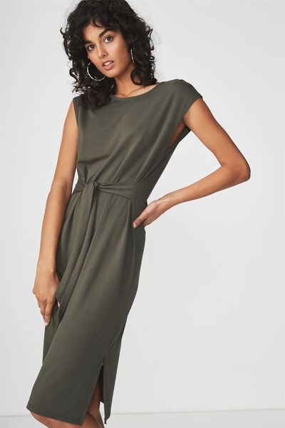 Fiona Tie Waist Midi Dress, DEEP DEPTHS