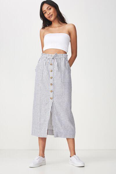 Woven Molly Button Through Midi Skirt, MILLY STRIPE NAVY