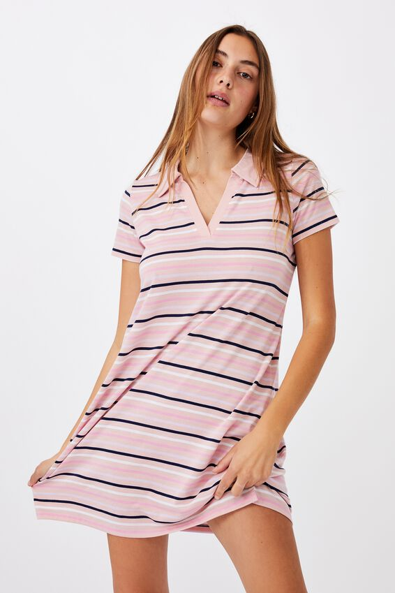 Tina Polo Tshirt Dress, SAMARA STRIPE SUNFADED PINK MULTI