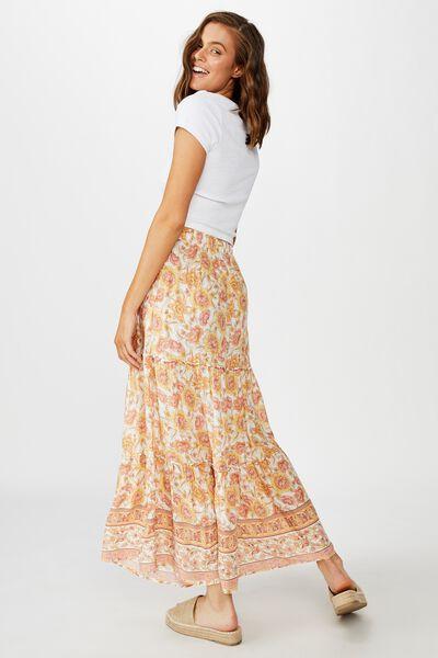 Maya Maxi Skirt, SUNDAY FLORAL BORDER APRICOT ICE