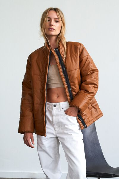 Vegan Leather Puffer Jacket, TAN