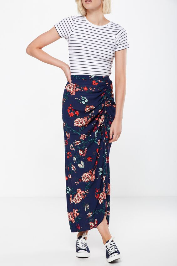 Woven Elora Rouched Maxi Skirt, TASIA FLORAL MOOD INDIGO