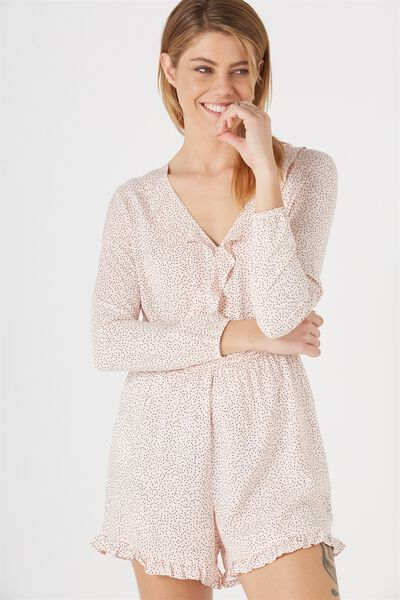 Woven Claire Long Sleeve Ruffle Playsuit, TINY DOT NUDE PINK