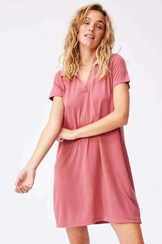 Tina Polo Tshirt Dress, RUBY PINK