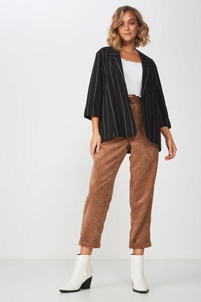 Deconstructed Soft Blazer, BLACK/OAT PINSTRIPE