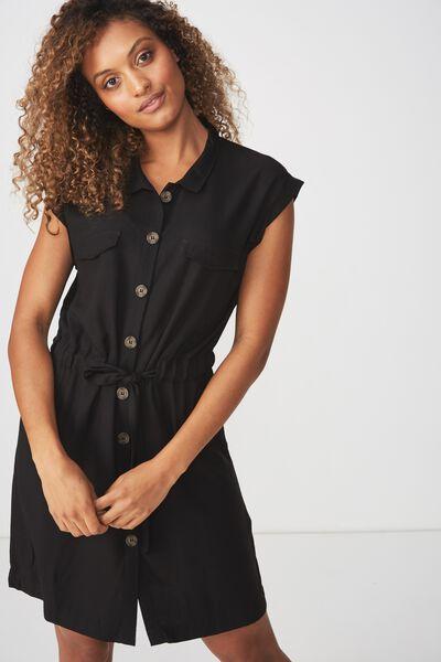 Woven Eve Sleeveless Shirt Dress, BLACK