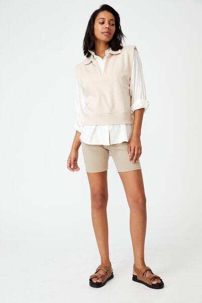 Kora Collared Sleeveless Pullover, STONE