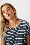 Tina Tshirt Dress 2, COLE STRIPE MIDNIGHT NAVY MARLE WHITE